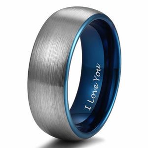 Promise Rings - 8mm I Love You Engraved Blue Silver Tungsten Mens Ring