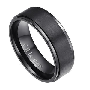 Promise Rings - 8mm I'll Be There Black Titanium Mens Ring
