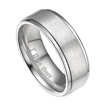 Promise Rings - 8mm I'll Be There Silver Titanium Mens Ring