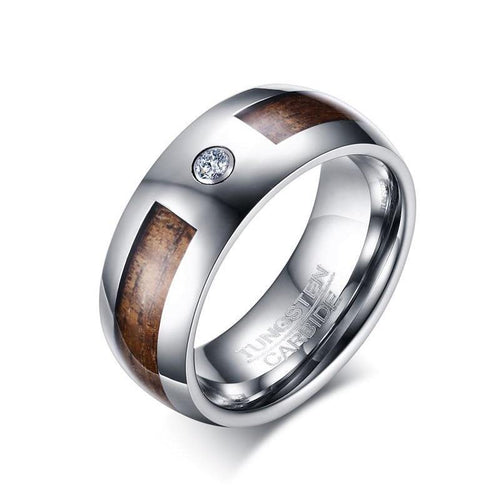 Promise Rings - 8mm Inlaid Solid Wood & CZ Stone Silver Tungsten Men's Ring