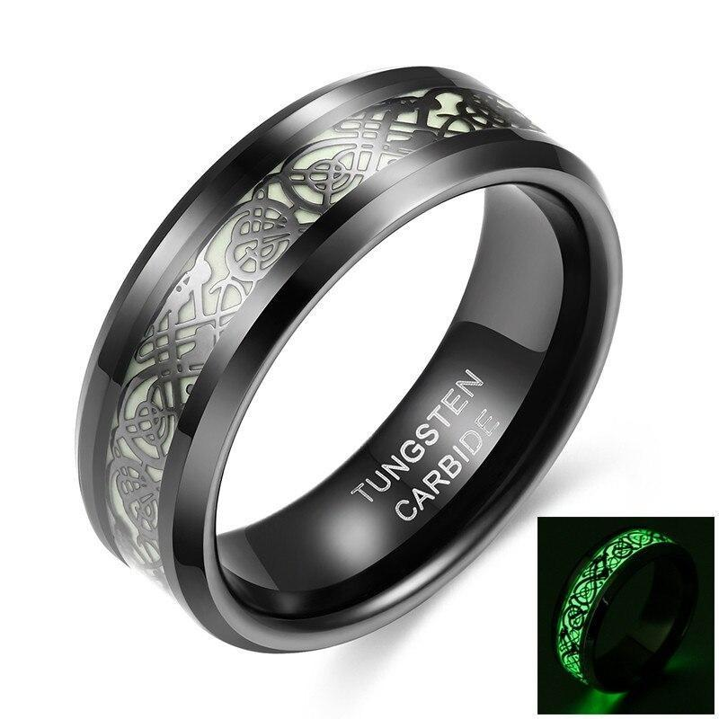 Promise Rings - 8mm Luminous Celtic Dragon Black Unisex Ring (Glows In The Dark)