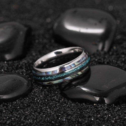 Promise Rings - 8mm Luxury Abalone Silver Tungsten Mens Ring