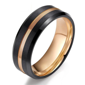 Promise Rings - 8mm Luxury Black & Rose Gold Line Tungsten Mens Ring