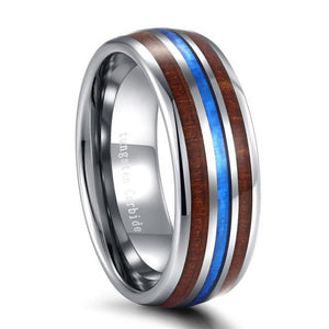 Promise Rings - 8mm Luxury Blue Abalone Shell Wood Polished Tungsten Mens Ring