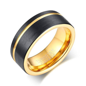 Promise Rings - 8mm Luxury Gold Color Groove & Black Mens Ring