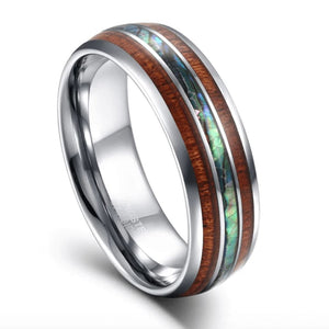 Promise Rings - 8mm Luxury Wood & Abalone Shell Silver Tungsten Mens Ring