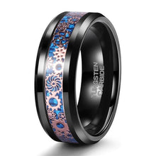 Promise Rings - 8mm Mechanical Gears Inlay Black & Blue Tungsten Mens Ring