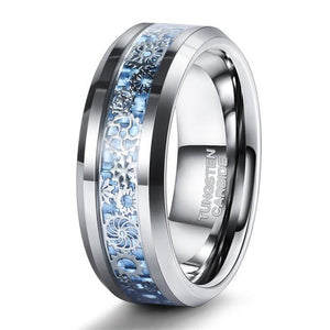 Promise Rings - 8mm Mechanical Gears Inlay Silver & Blue Tungsten Mens Ring