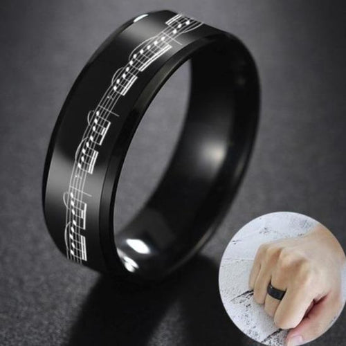 Promise Rings - 8mm Music Notes Musician Black Stainless Steel Men's Ring