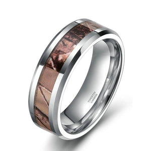 Promise Rings - 8mm Nature Camo Inlay Tungsten Unisex Ring