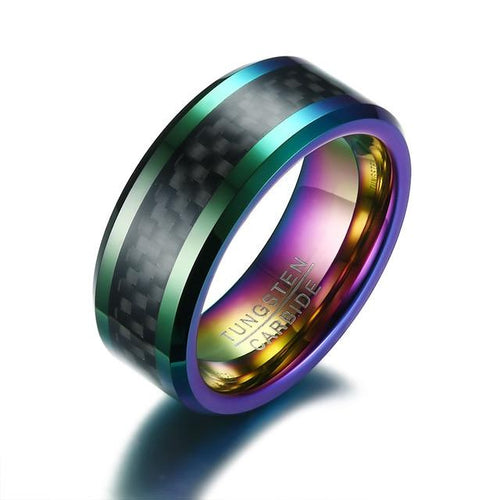 Promise Rings - 8mm Pattern Inlay & Colorful Tungsten Mens Ring