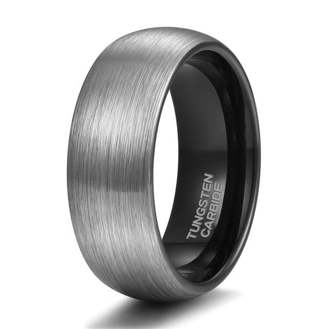 Promise Rings - 8mm Personalized Silver Black Tungsten Mens Ring - 1 Custom Engraving (optional)