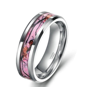 Promise Rings - 8mm Pink Camo Inlay Silver Tungsten Ring