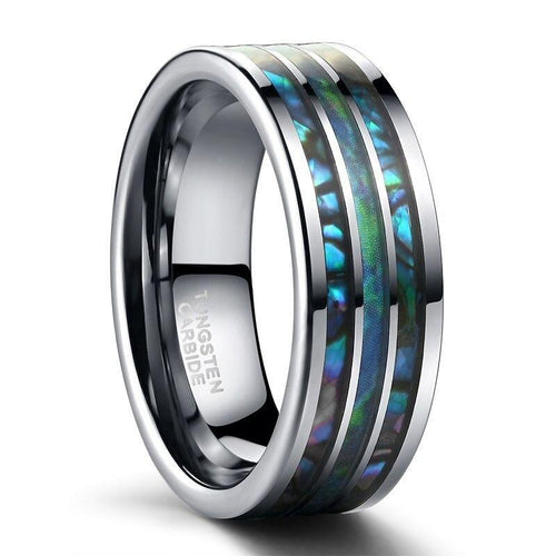 Promise Rings - 8mm Polished Matte Abalone Shell Tungsten Mens Ring - 1 Custom Engraving (Optional)