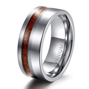 Promise Rings - 8mm Polished & Matte Nature Wood Inlay Silver Mens Ring
