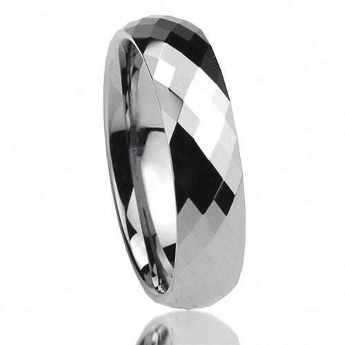 Promise Rings - 8mm Prism Cut Silver Tungsten Unisex Ring