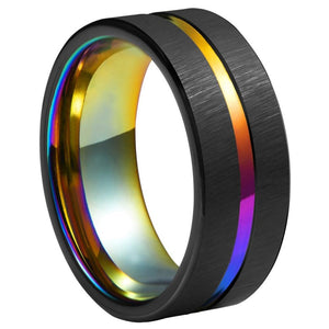 Promise Rings - 8mm Rainbow Groove & Black Tungsten Mens Ring