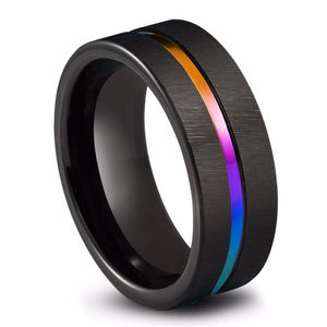 Promise Rings - 8mm Rainbow Groove & Full Black Tungsten Mens Ring