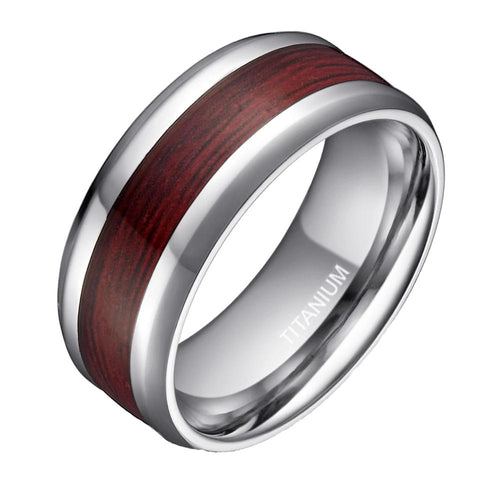 Promise Rings - 8mm Real Wood Inlay Silver Titanium Mens Ring