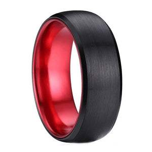 Promise Rings - 8mm Red & Black Brushed Tungsten Mens Ring