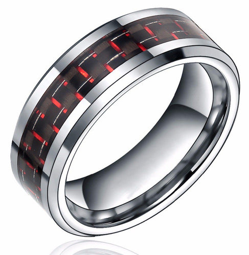 Promise Rings - 8mm Red & Black Carbon Fiber Inlay Silver Tungsten Mens Ring