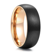 Promise Rings - 8mm Red, Green or Rose Gold & Black Tungsten Mens Ring