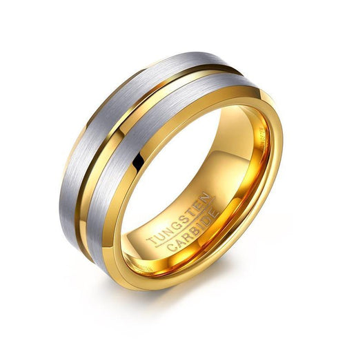 Promise Rings - 8mm Silver and Gold Color Groove Tungsten Mens Ring
