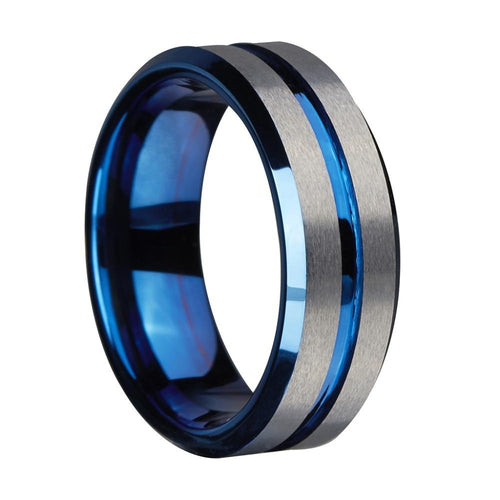 Promise Rings - 8mm Silver & Blue Groove Matte Tungsten Mens Ring
