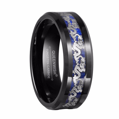 Promise Rings - 8mm Silver Chinese Dragon Tungsten Mens Ring