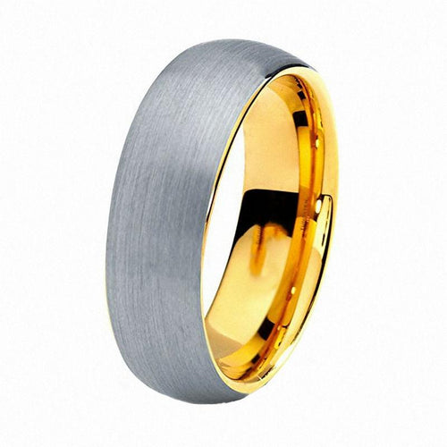 Promise Rings - 8mm Silver & IP Gold Plated Polished Unisex Ring