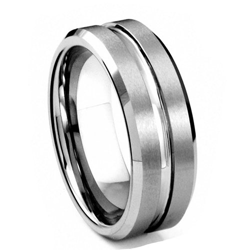 Promise Rings - 8mm Silver Matte Polished Grooved Tungsten Mens Ring
