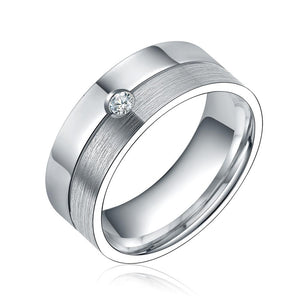 Promise Rings - 8mm Silver Two Tone Cubic Zirconia Titanium Unisex Ring