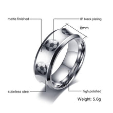 Promise Rings - 8mm Soccer Football Sport Stainless Steel Mens Ring
