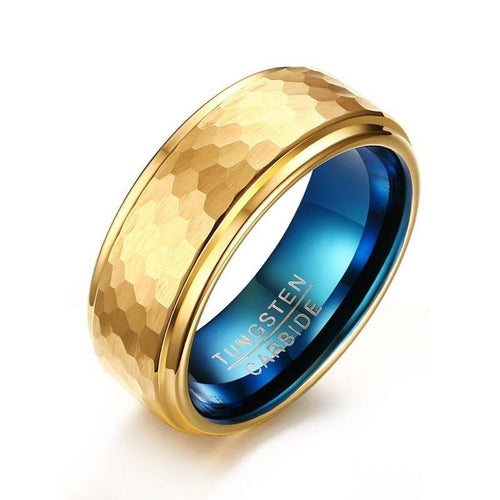 Promise Rings - 8mm Three Dimensional Carving Design Gold & Blue Tungsten Men's Ring