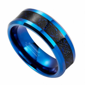 Promise Rings - 8mm Traditional Celtic Dragon Blue Black Tungsten Mens Ring