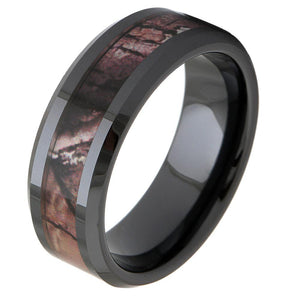 Promise Rings - 8mm Trees Camo Inlay Black Ceramic Mens Ring