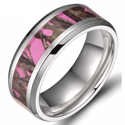 Promise Rings - 8mm Trees Camo Pink Inlay Silver Unisex Ring
