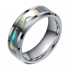 Promise Rings - 8mm Abalone Shell Inlay Tungsten Unisex Ring