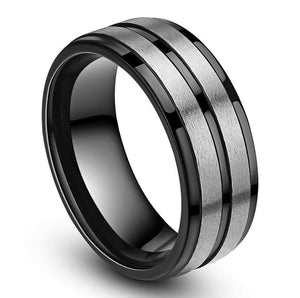 Promise Rings - 8mm Two Silver Matte Bands & Polished Black Titanium Mens Ring