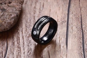 Promise Rings - 8mm Unique Steel Cables Titanium Mens Ring
