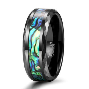 Promise Rings - 8mm Vibrant Green, Blue & Black Tungsten Mens Ring