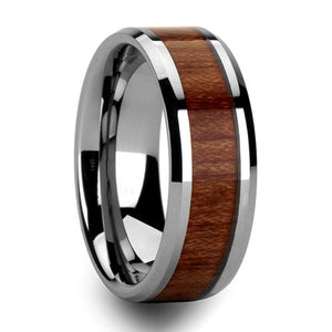 Promise Rings - 8mm Hawaiian Koa Wood Tungsten Mens Ring