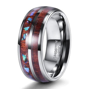 Promise Rings - 8mm Wood and Abalone Shell Inlay Mens Ring