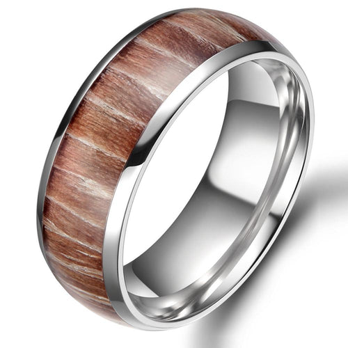Promise Rings - 8mm Wood Inlay Design Dome Titanium Mens Ring