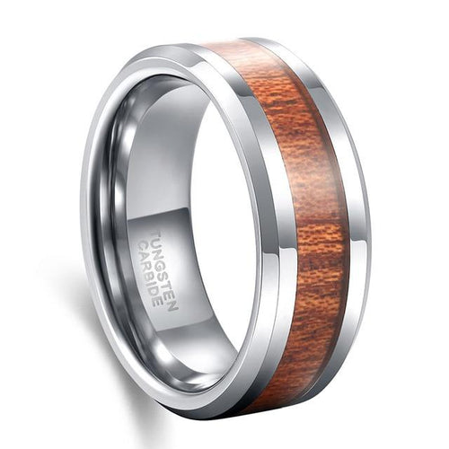 Promise Rings - 8mm Wood Inlay Tungsten Silver Mens Ring
