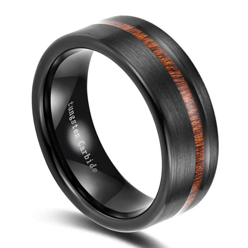 Promise Rings - 8mm Wood Inlay Black Tungsten Mens Ring