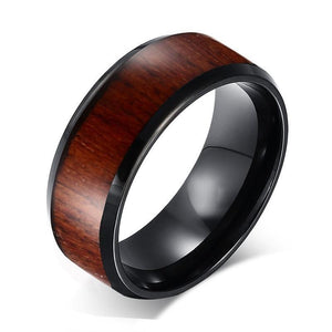 Promise Rings - 8mm Wood Polished Finished Black Tungsten Mens Ring