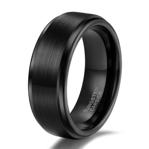 Promise Rings - 8mm & 6mm Brushed Tungsten Black Unisex Rings