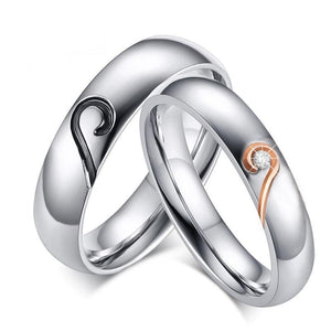 Promise Rings - Black & Rose Gold Joining Heart Couples Rings