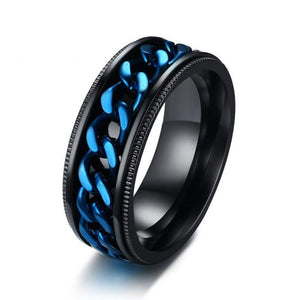 Promise Rings - Blue Black Stainless Steel Rotatable Spinner Mens Ring